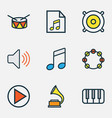 audio colored outlines set collection of play vector image