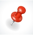 red pushpin on white background vector image