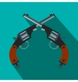 Crossed revolvers flat icon vector image vector image