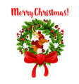 christmas decoration wreath greeting icon vector image