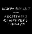 Kosepy uppercase alphabet typography vector image