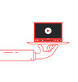 red thin line hand holding video player on dish vector image