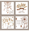 Set greeting cards ethnic style Dream Catcher vector image