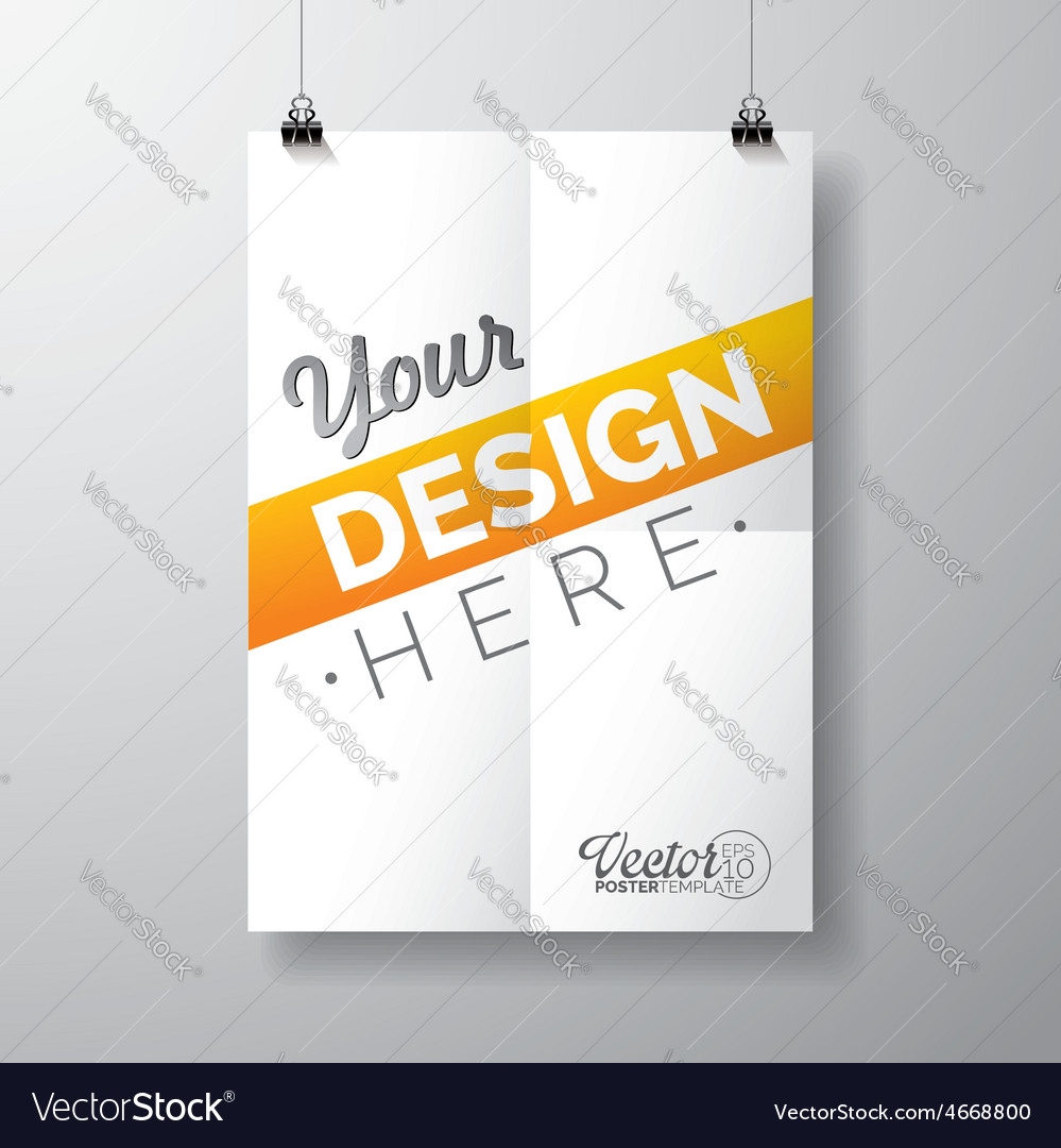 Poster template of a folded paper sheet vector