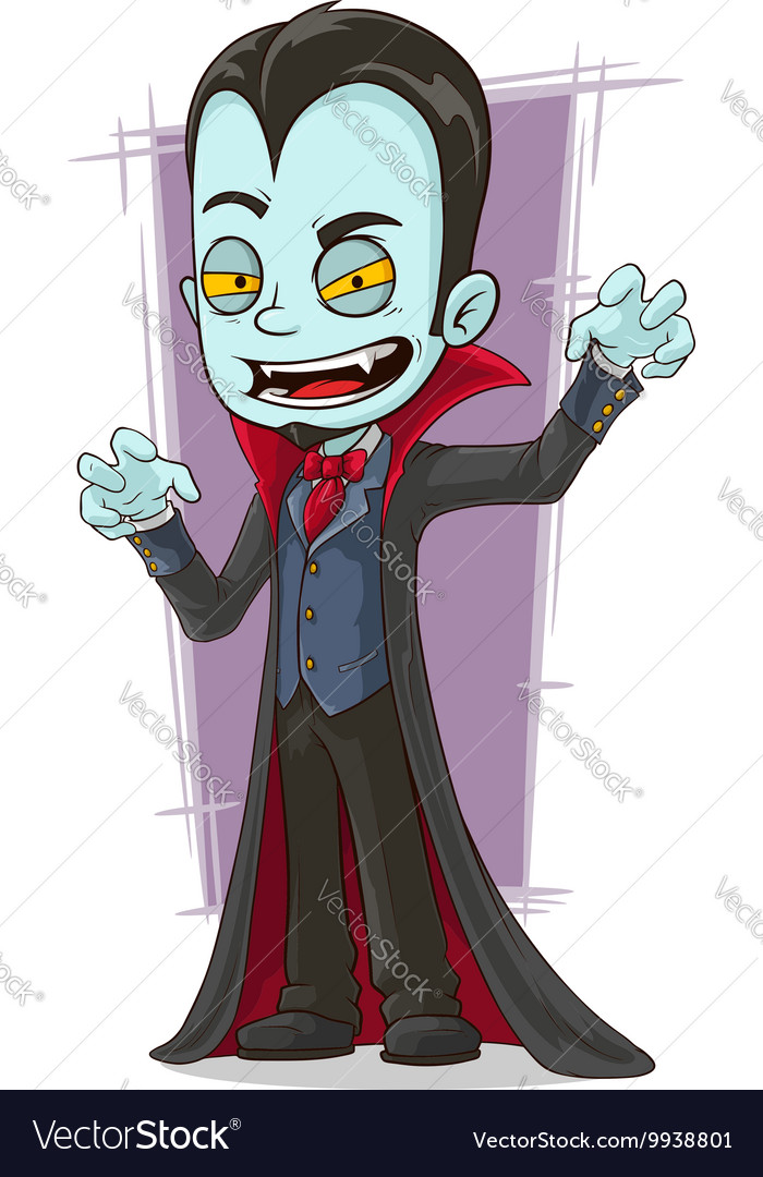 Cartoon scary vampire with canines vector