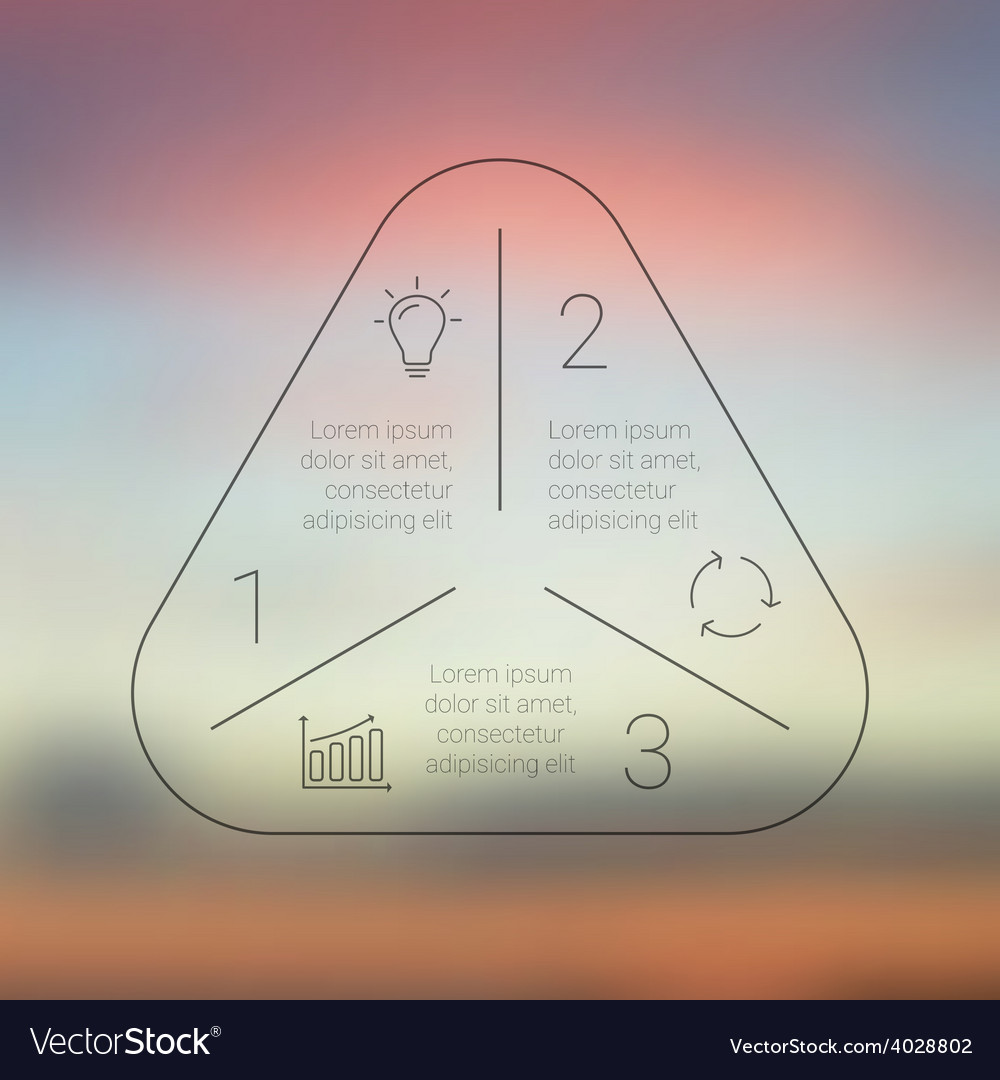 Circle line triangle infographic template for vector