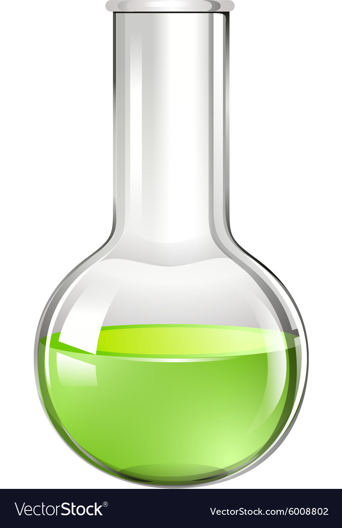 Green liquid in glass beaker vector