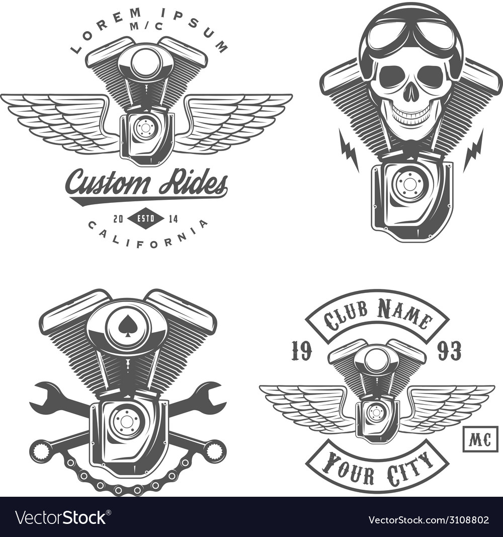 Set of vintage motorcycle engine design elements vector
