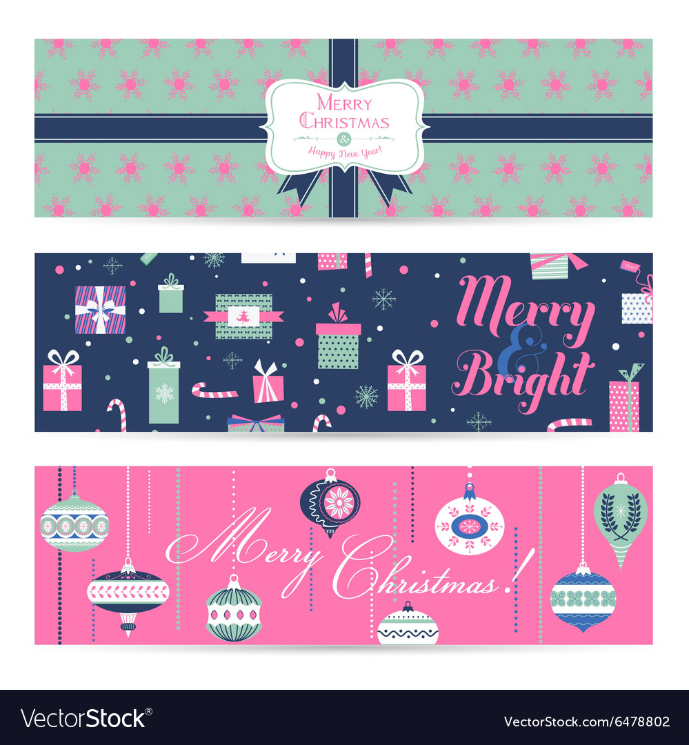 Vintage christmas banners labels tags vector