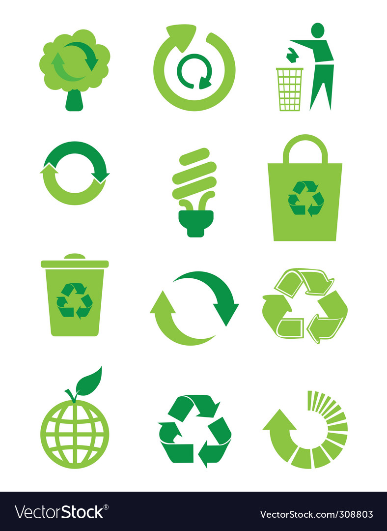 Recycle icon set vector