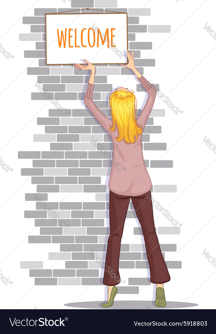 Woman hangs a tablet with welcome sign on the wall vector