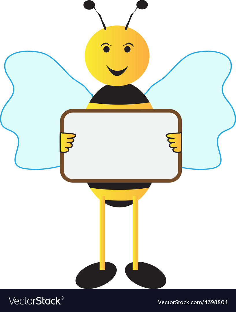 Bee holding sign board vector