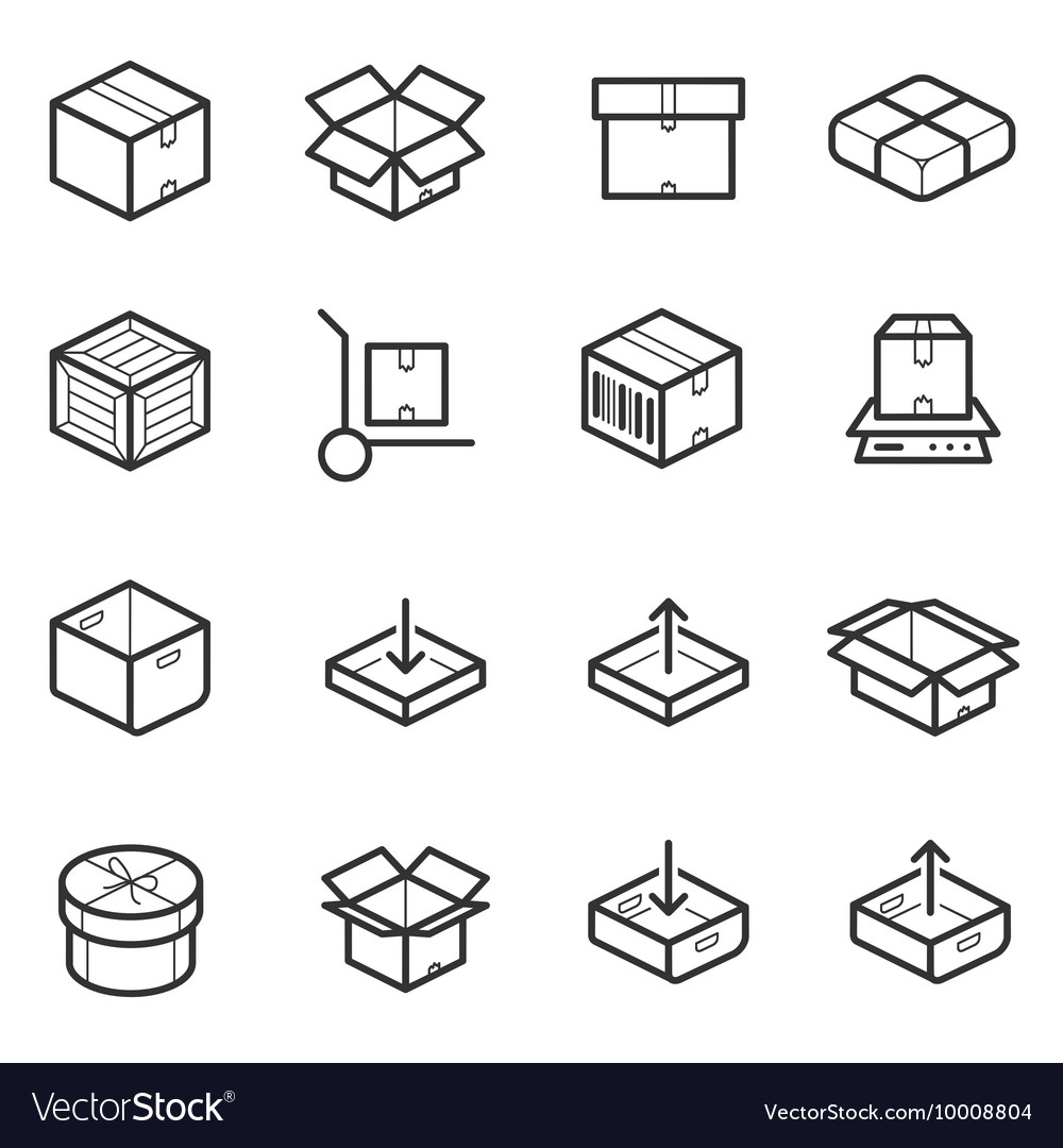 Package line thin icons set boxes crates vector
