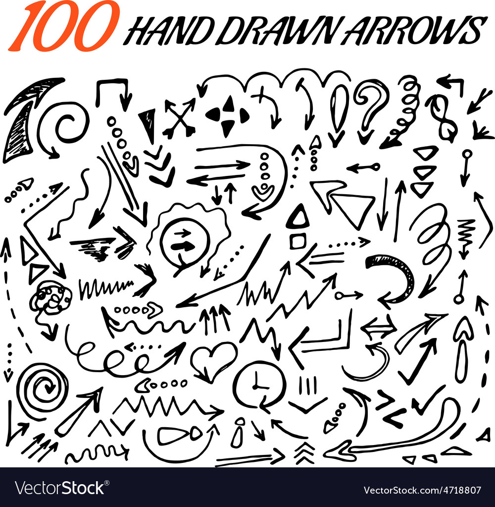 100 hand drawn arrow set made in vector