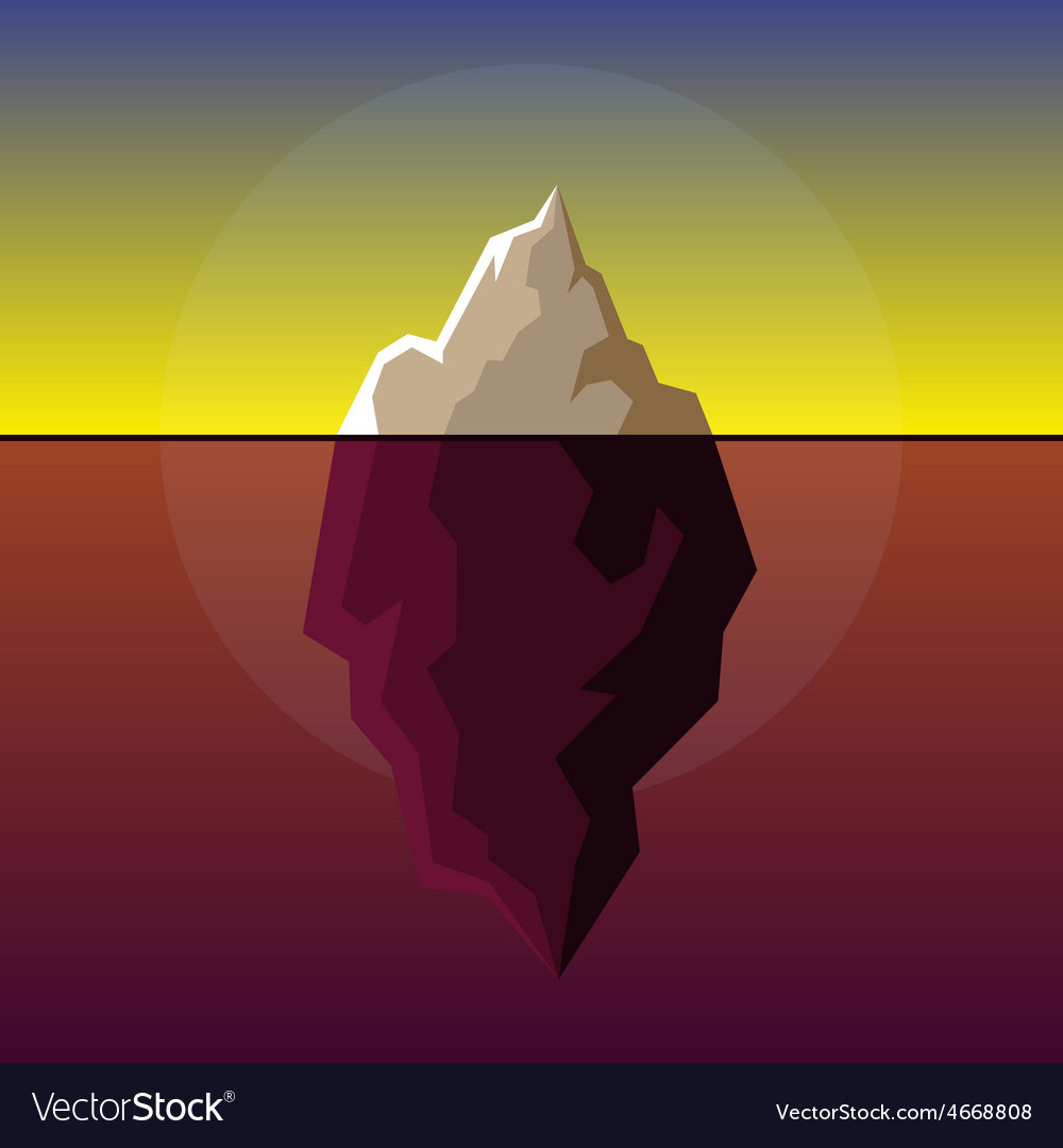 Iceberg on sunset atlantic background vector