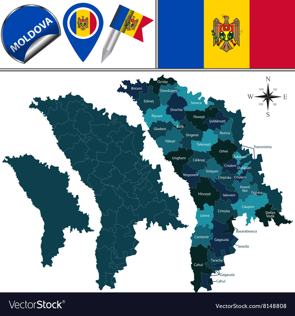 Moldova map with named divisions vector