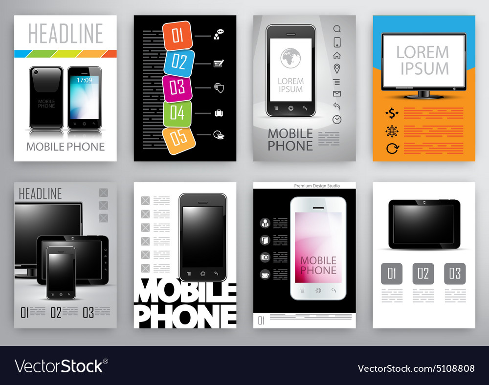 Set of flyers and brochures design template vector