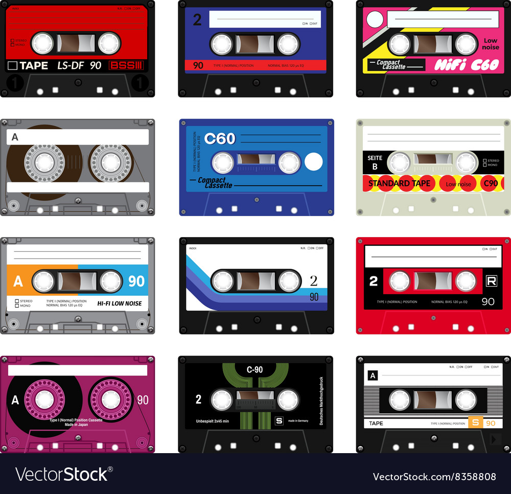 Vintage cassette tapes vol 5 vector