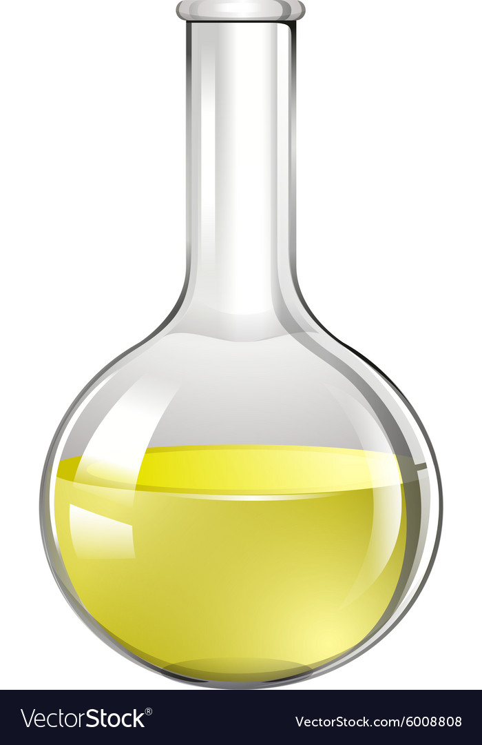 Yellow liquid in test tube vector