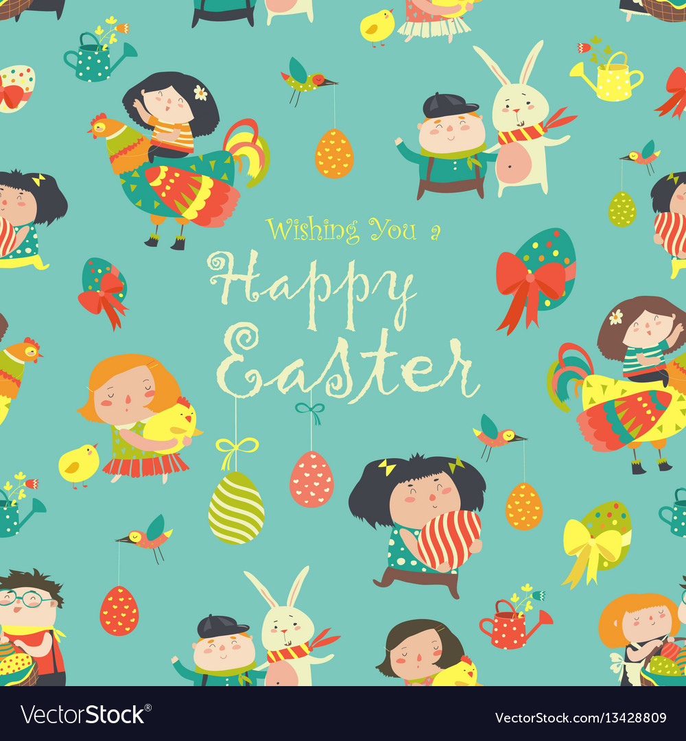 Easter cartoon seamless pattern vector