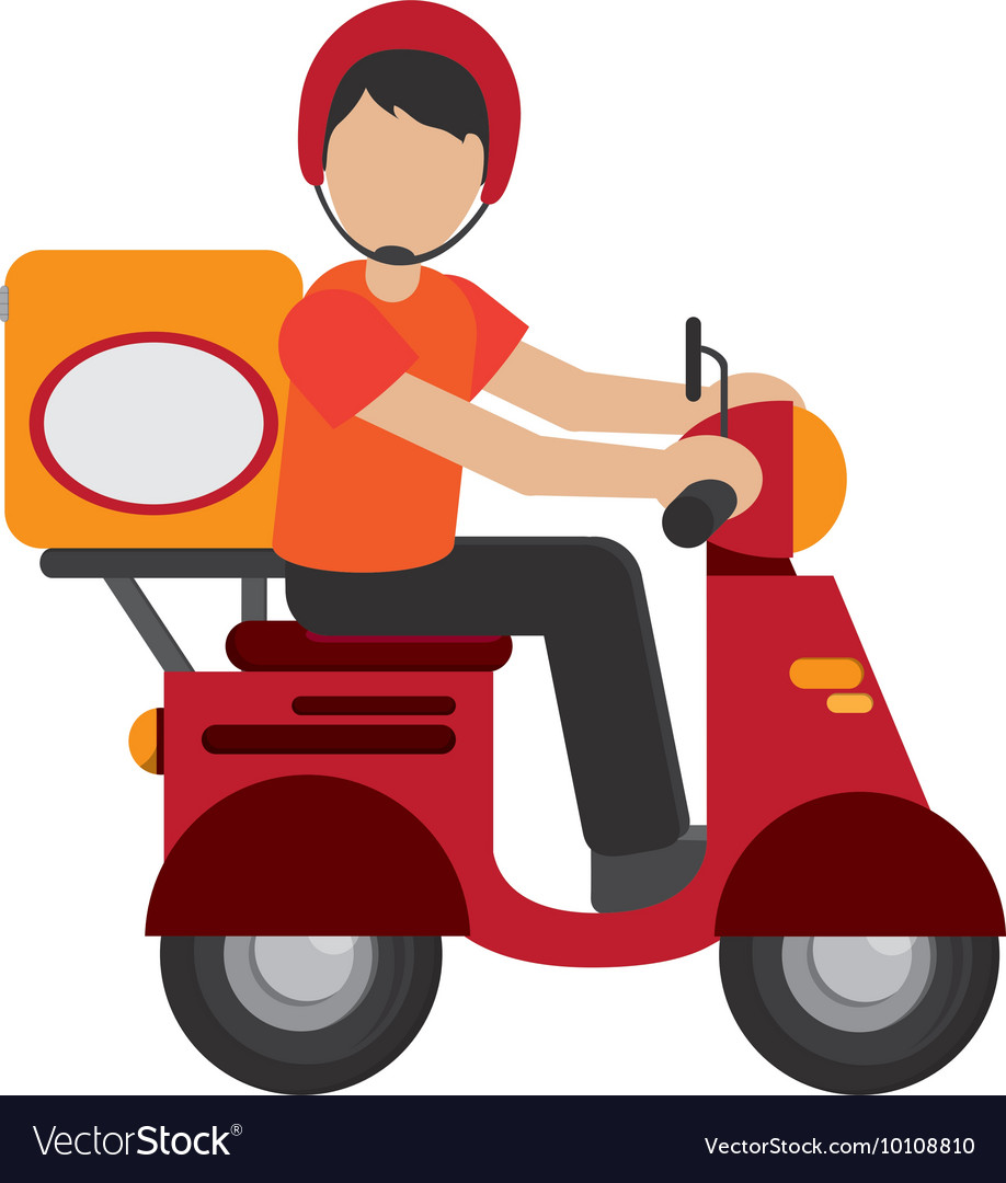 Man delivering boxes on scooter icon vector