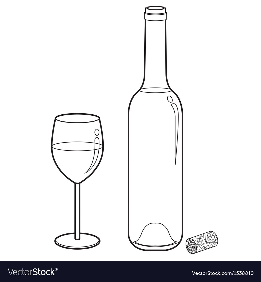 Wine glass and bottle outline vector