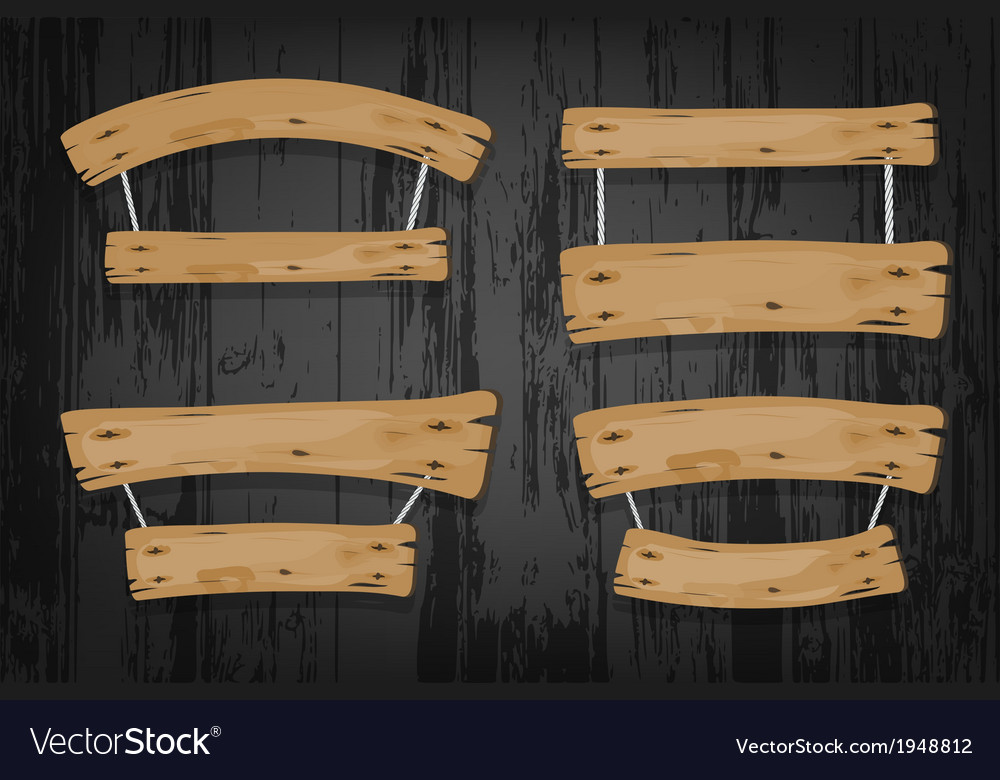 Brown wooden banners and ribbons hanging on ropes vector