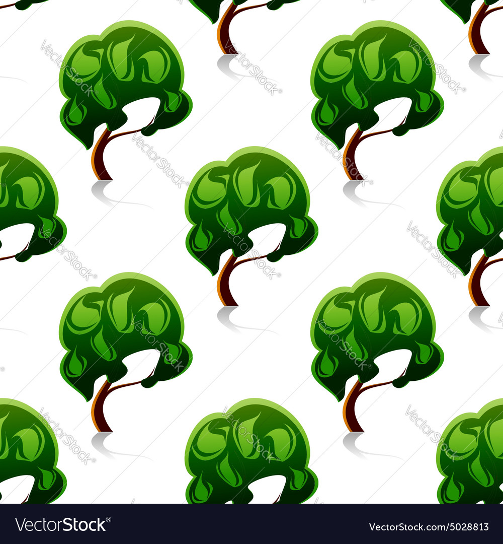 Abstract green trees seamless pattern vector