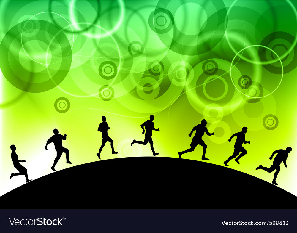 Black silhouettes of runners vector