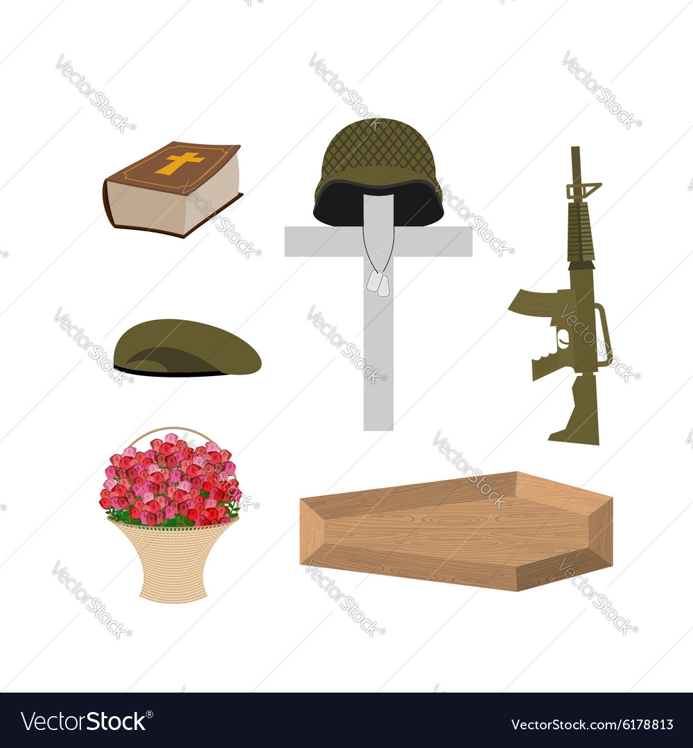 Death of a military veteran soldier funeral vector