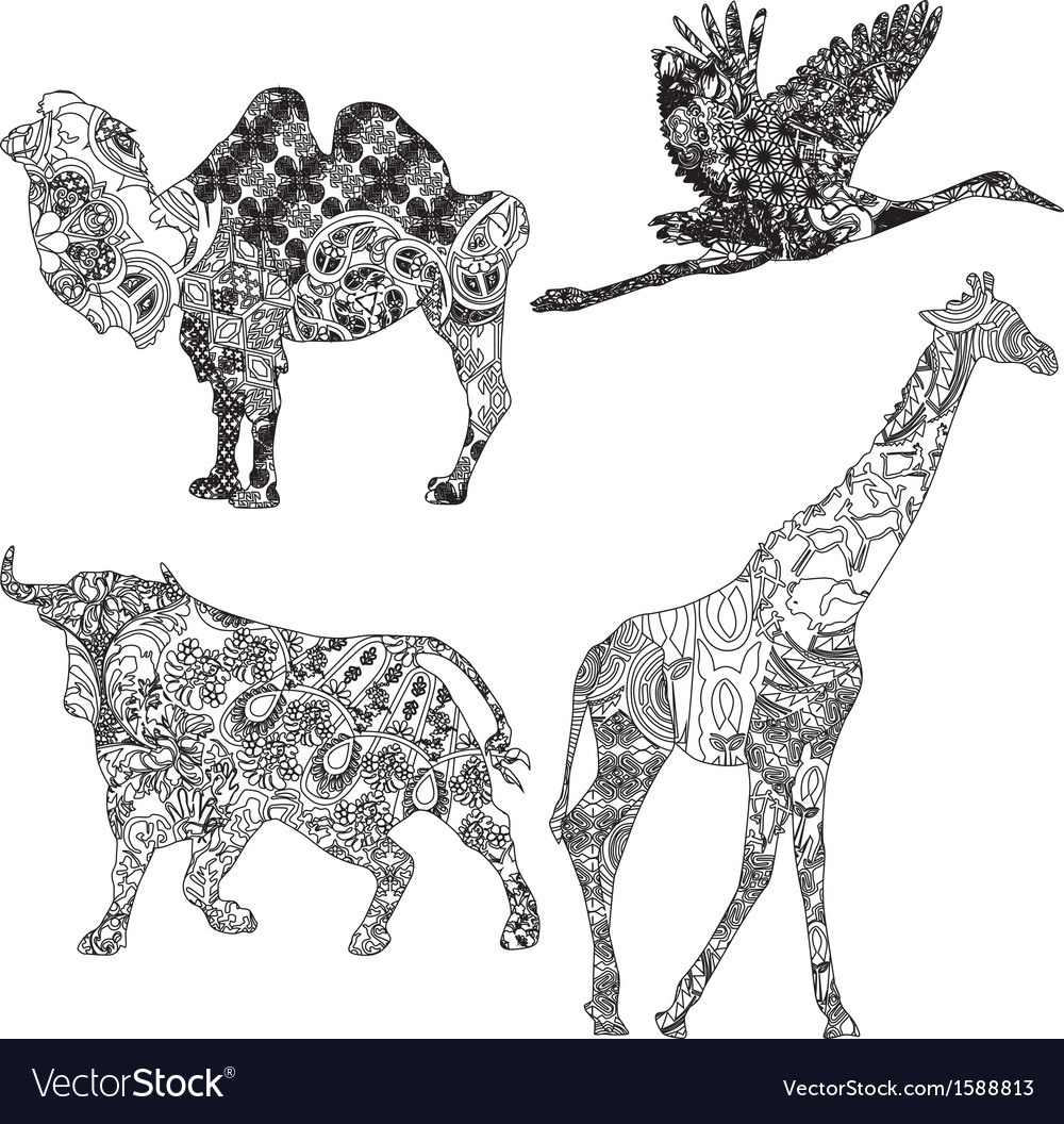 Set of animals in the ethnic ornament vector