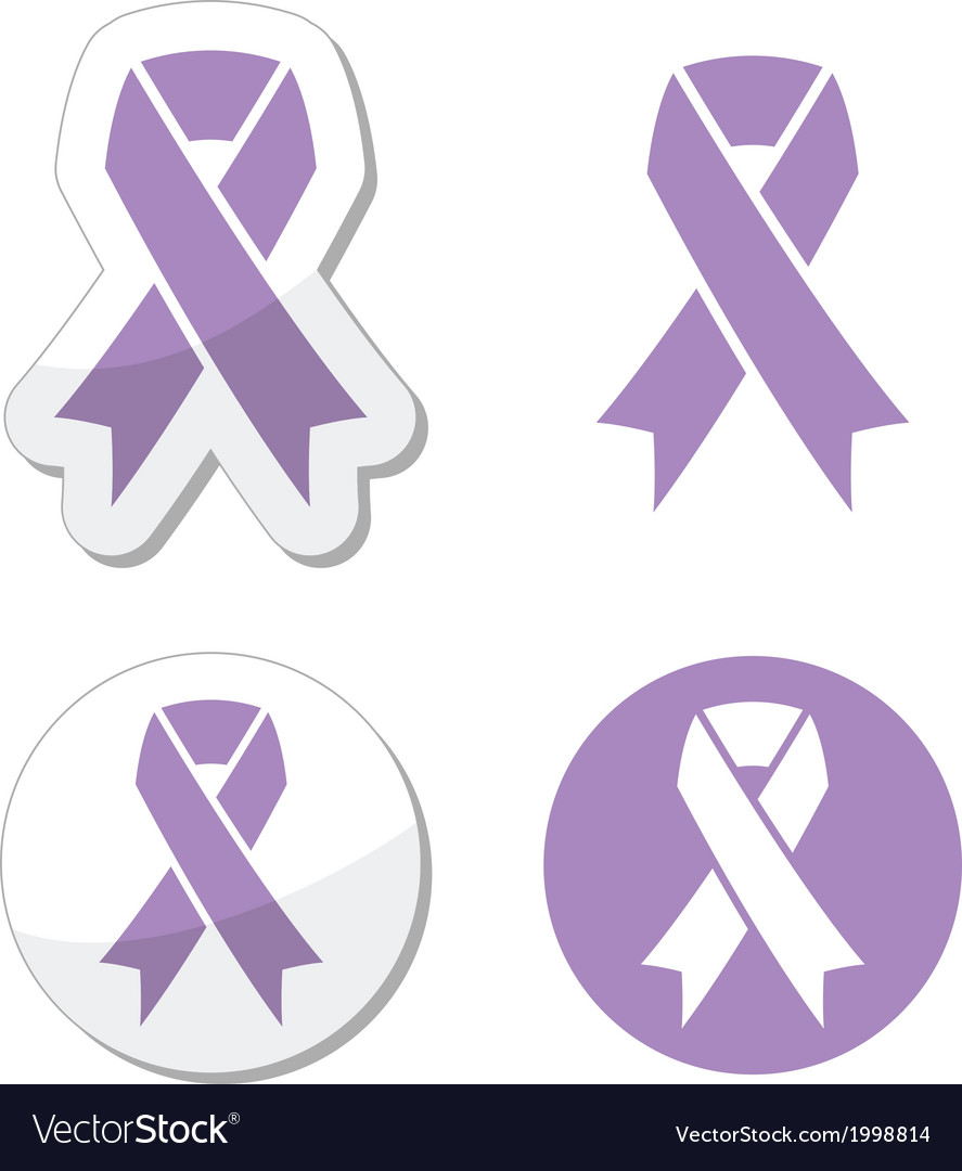 Lavender ribbon general cancer awareness vector