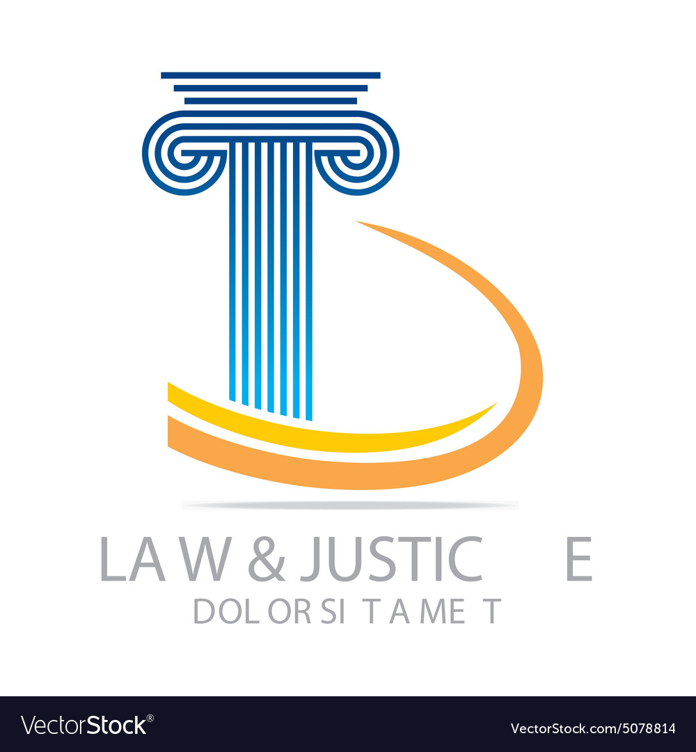 Logo law building and justice icon vector