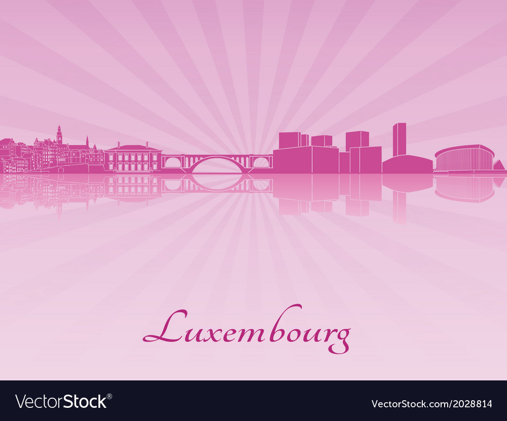 Luxembourg skyline in purple radiant orchid vector