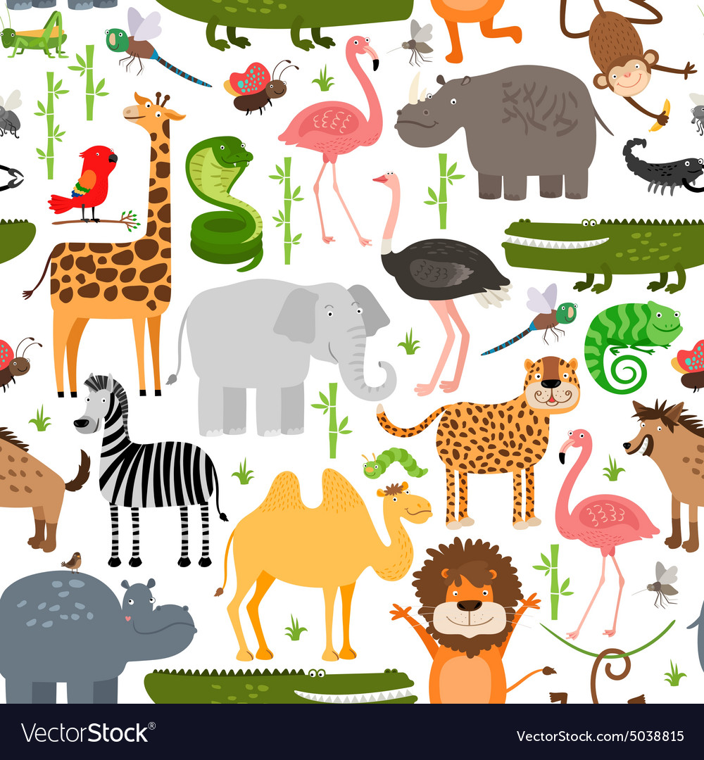 Jungle animals seamless pattern vector