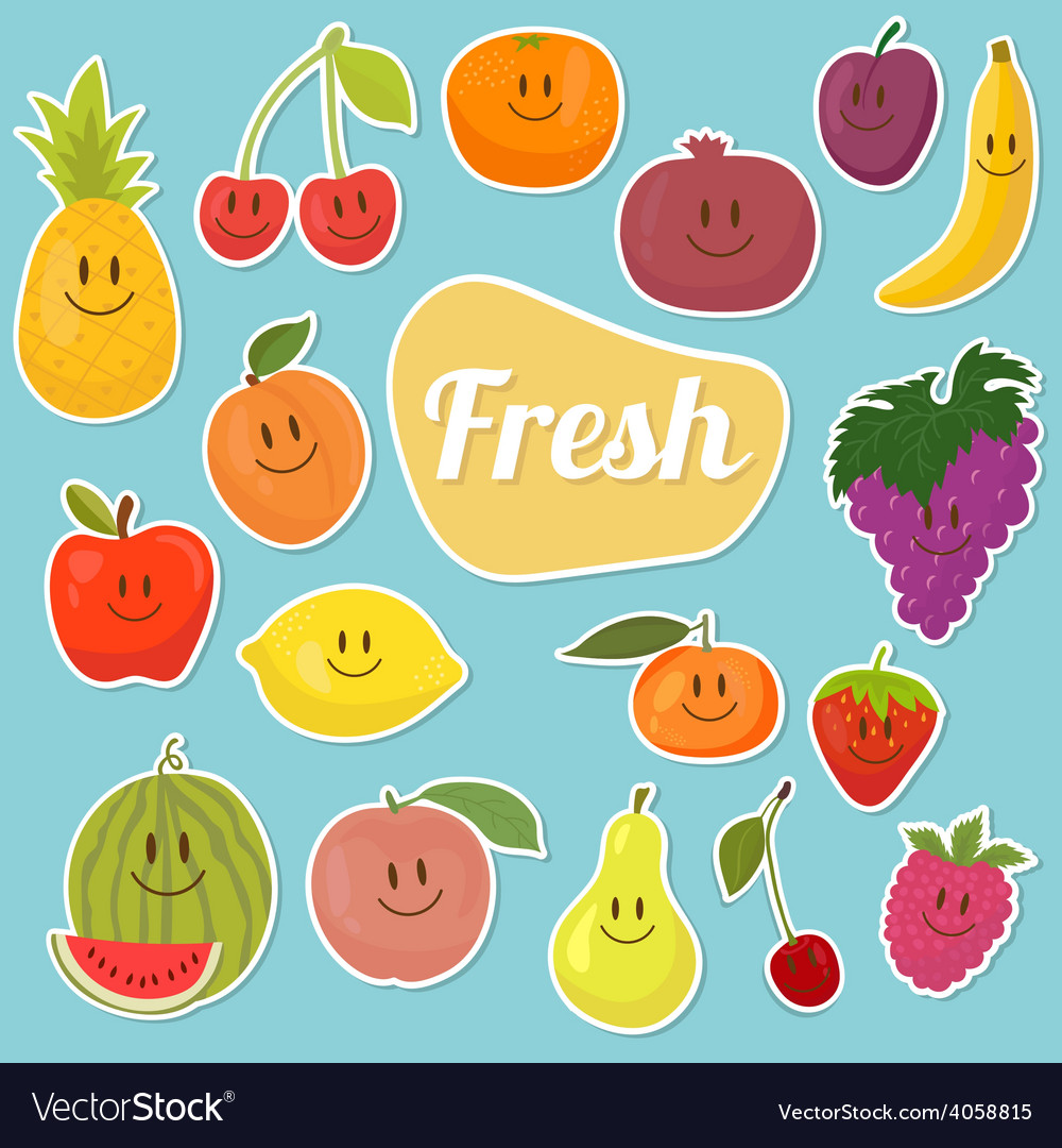Set of fruits stickers cartoon fruits vector