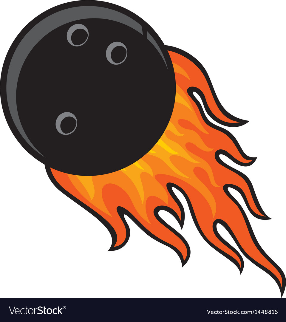 Bowling ball in fire vector