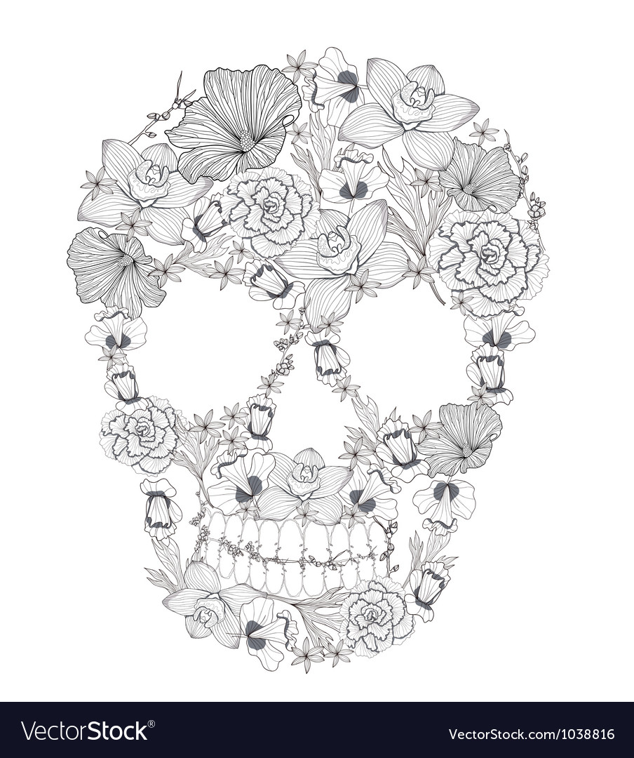 Skull from flowers vector