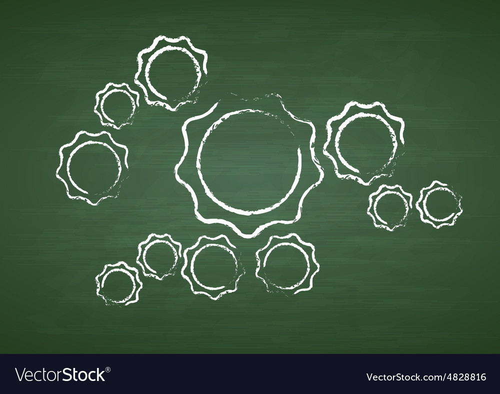 Tech gears on green chalkboard vector