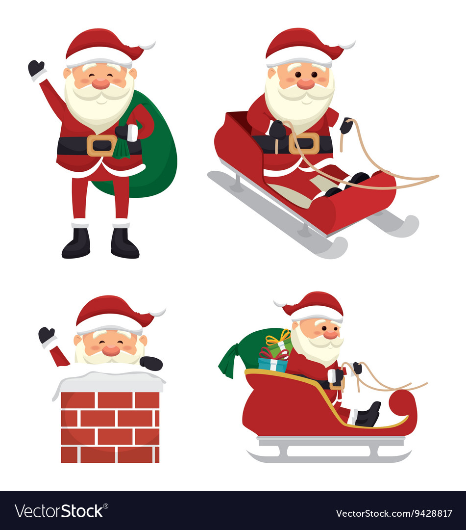Figures set santa claus isolated icon design vector