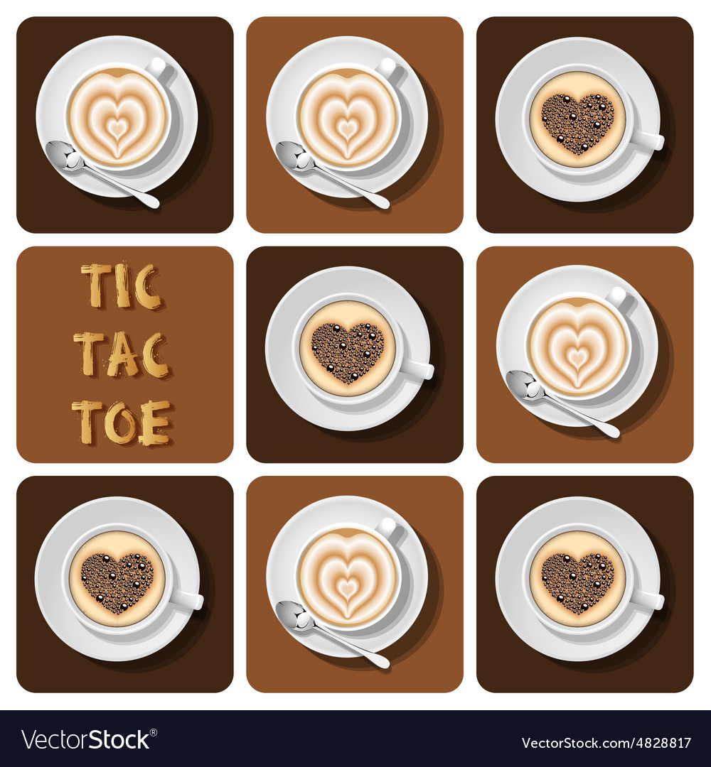 Tictactoe of cappuccino and latte vector