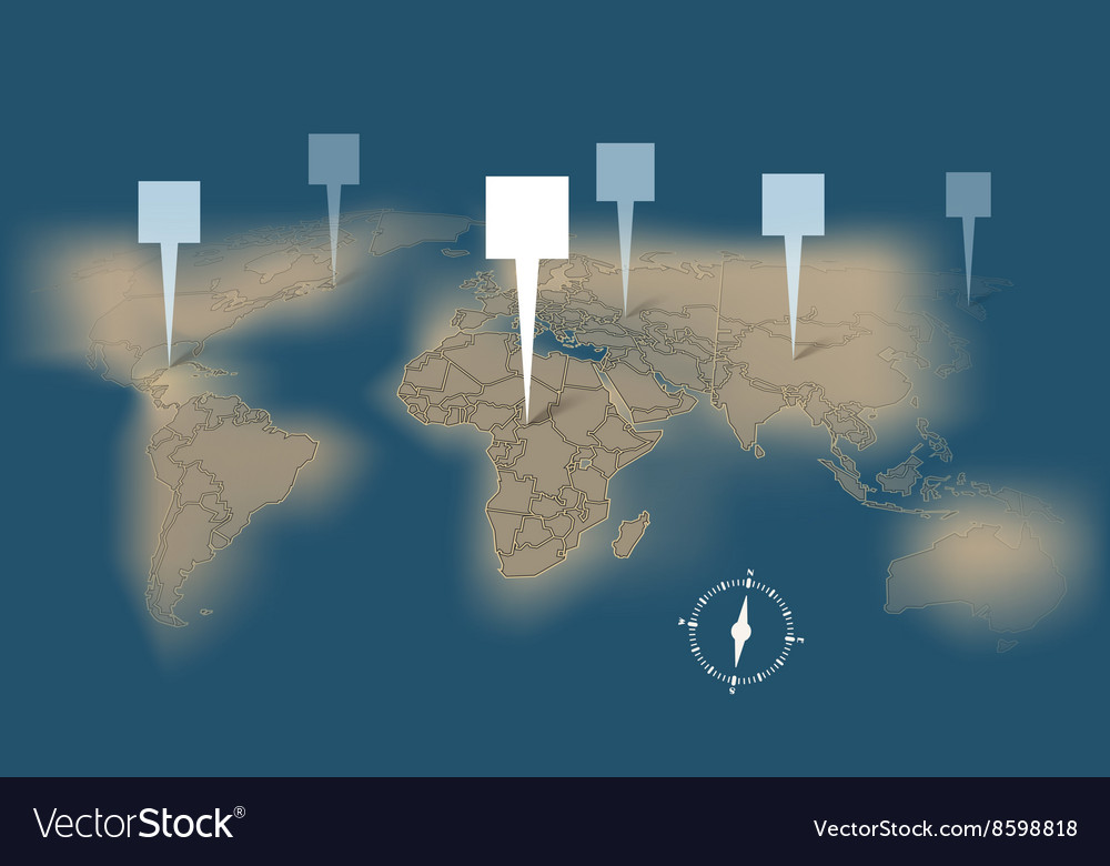 Earth map with destination points template vector