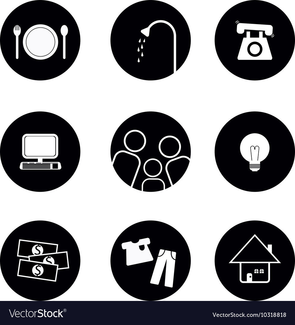 Icons of living elements in black and white vector