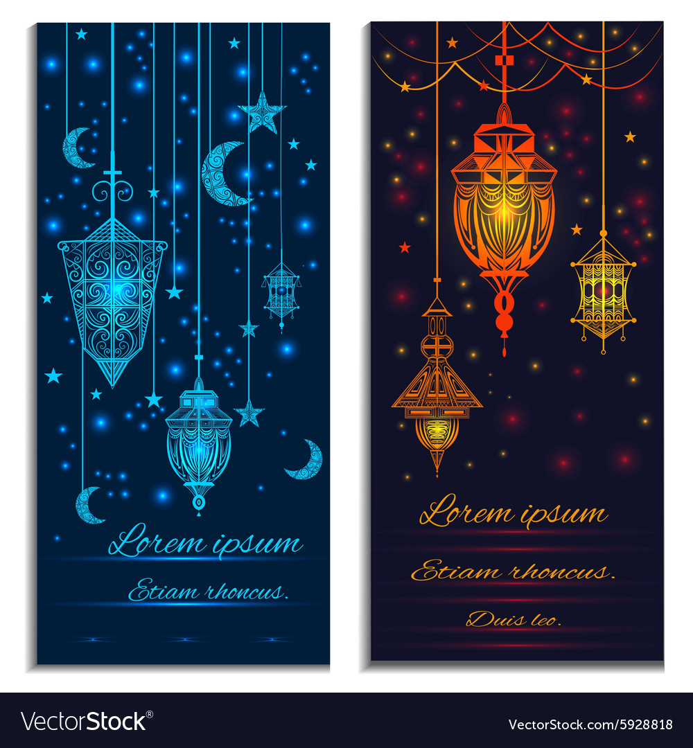Invitation cards with lights crescent stars and vector
