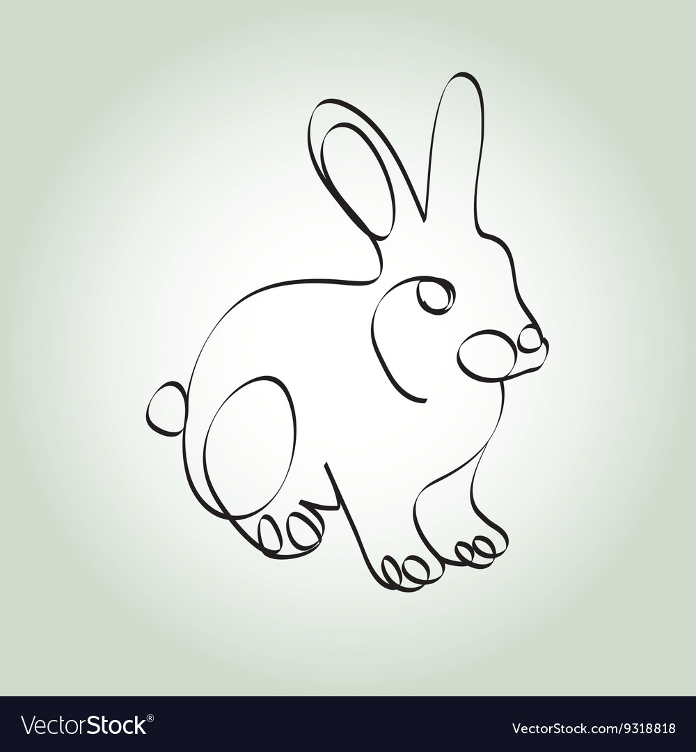 Rabbit in minimal line style vector