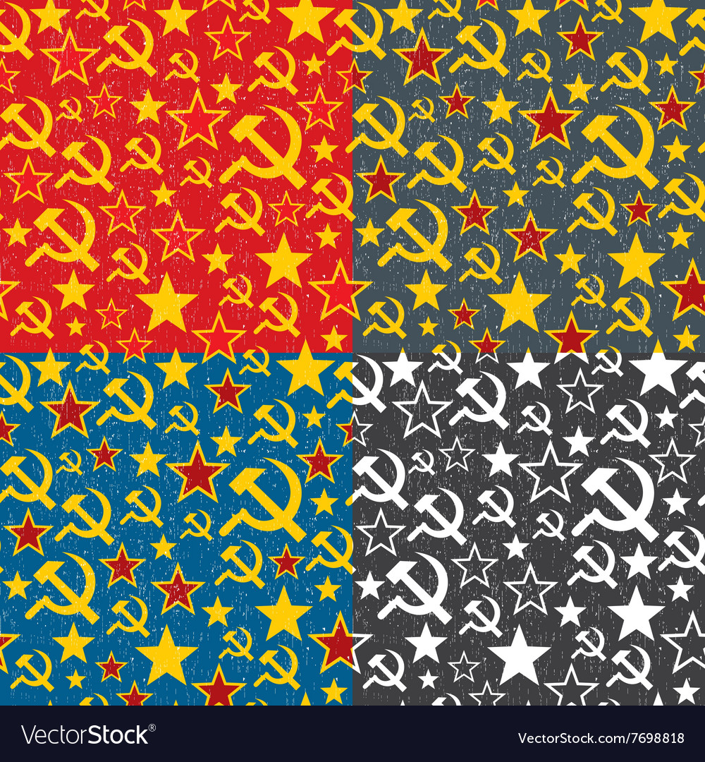 Set of soviet union seamless patterns vector
