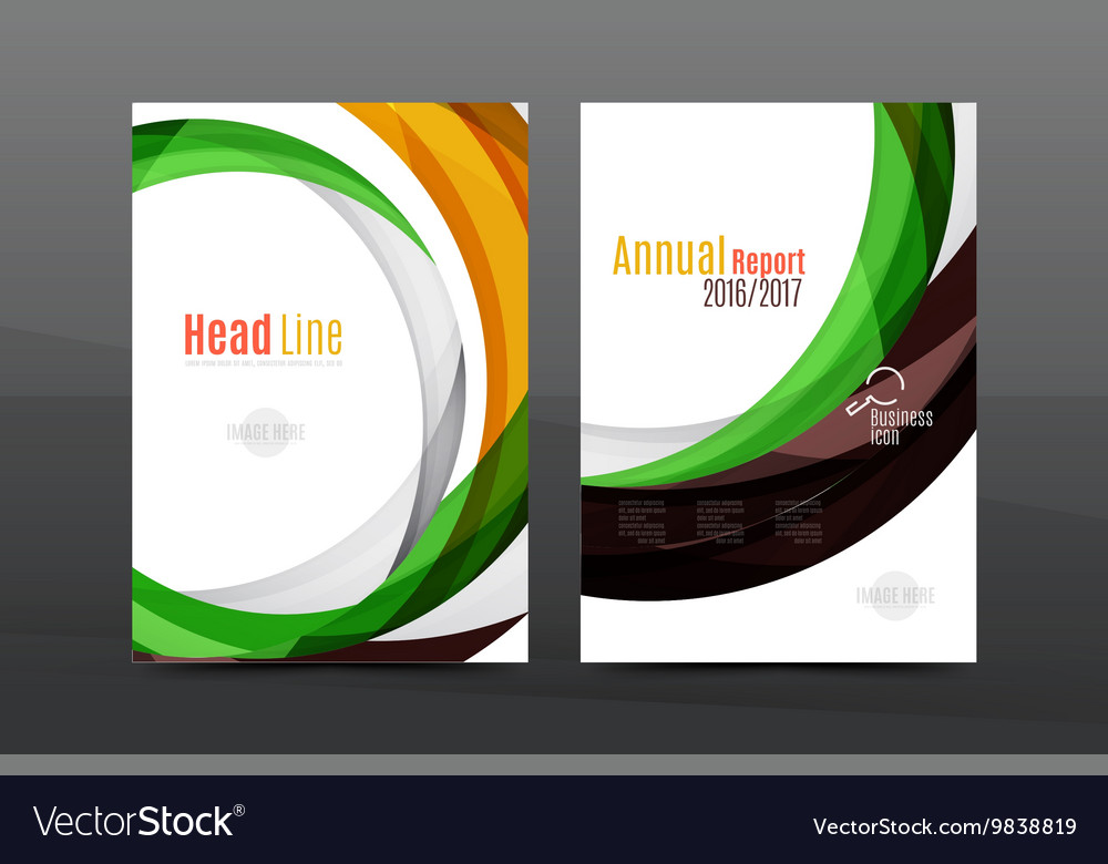Colorful swirl design annual report cover template vector