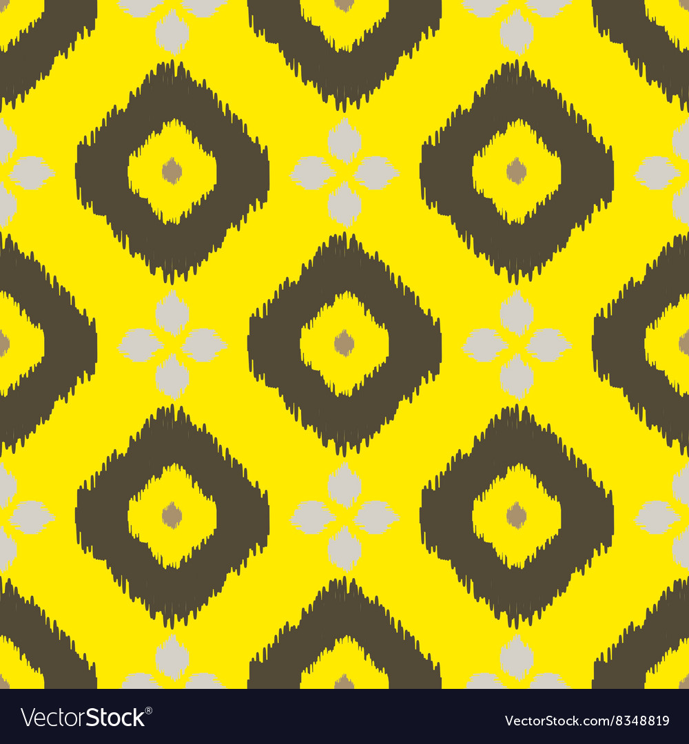 Ikat geometric seamless pattern yellow and brown vector