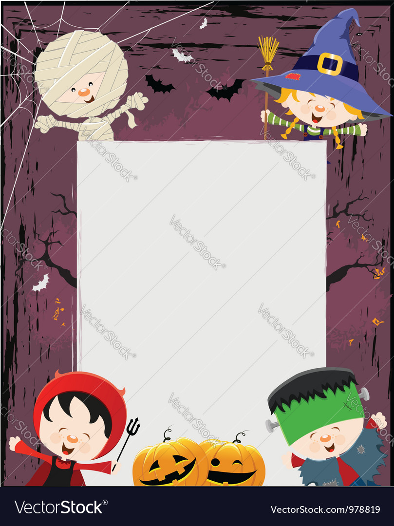 Kids halloween message vector