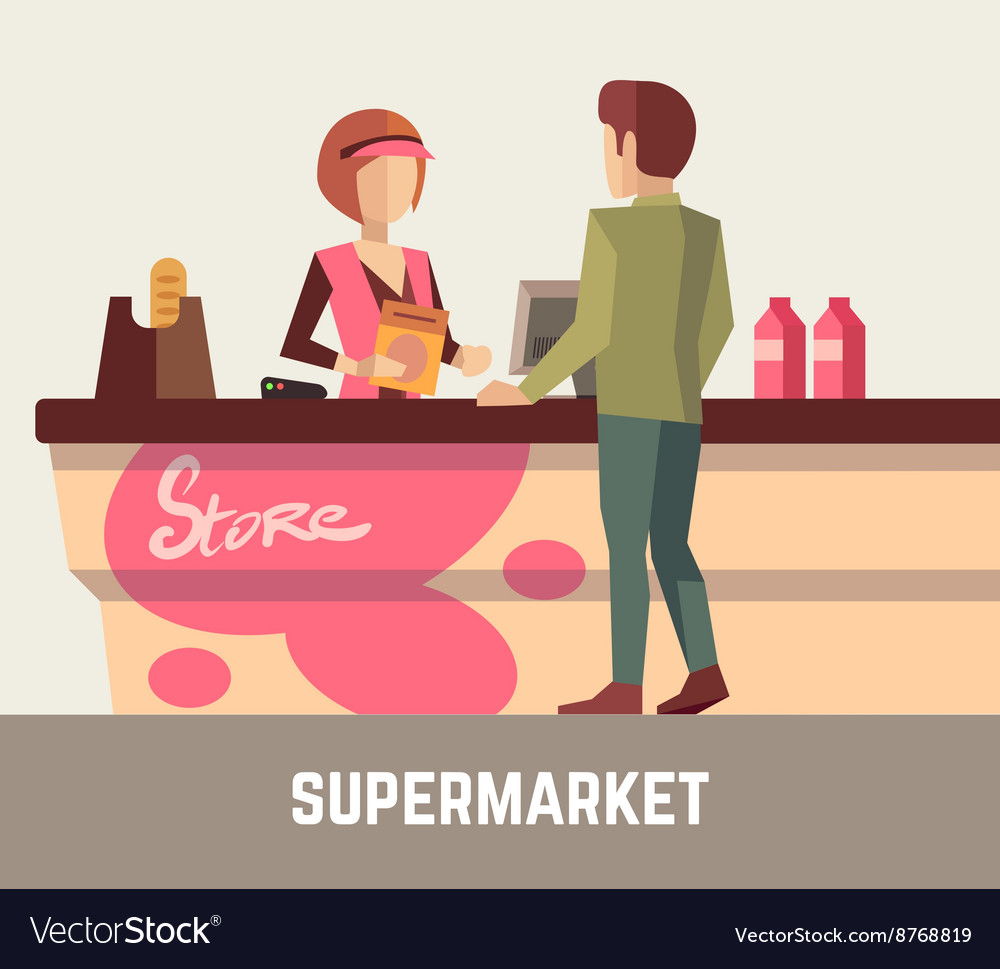 Supermarket store assistant cashier woman at cash vector
